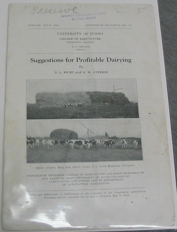 Image for SUGGESTIONS FOR PROFITABLE DAIRYING