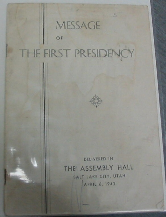 Image for MESSAGE OF THE FIRST PRESIDENCY