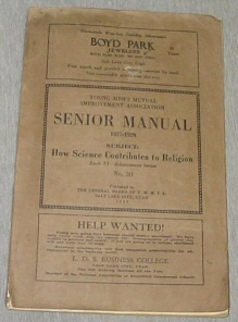 Image for YOUNG MEN'S MUTUAL IMPROVEMENT ASSOCIATIONS SENIOR MANUAL 1927-1928 :  How Science Contributes to Religion