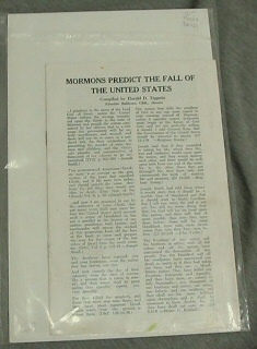 Image for MORMONS PREDICT THE FALL OF THE UNITED STATES