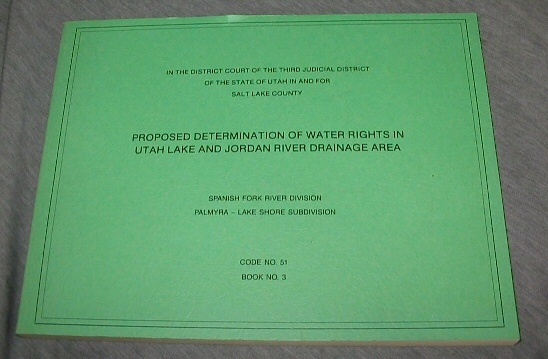 Image for Proposed Determination of Water Rights in Utah Lake and Jordan River Drainage Area - In the District Court of the Seventh Judicial District of the State of Utah in and for Emery County