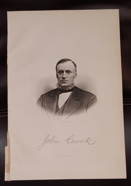 Image for Steel Engraving - John Crook -  Original MORMON / Utah Pioneer Steel Engraving