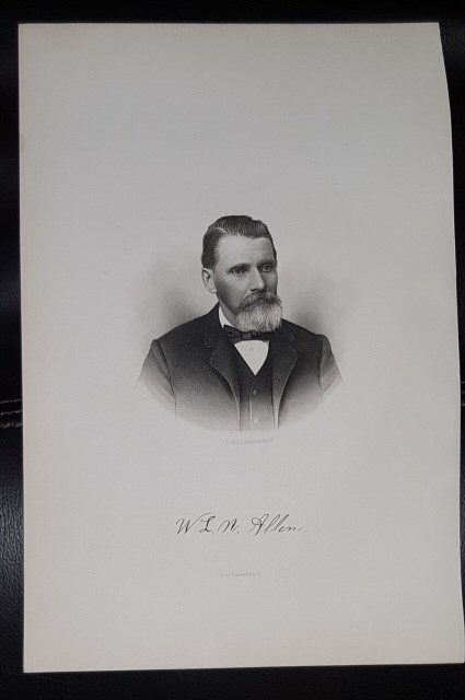 Image for Steel Engraving - W. L. N. Allen -  Original MORMON / Utah Pioneer Steel Engraving