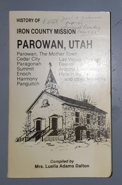 Image for History of the Iron County Mission and Parowan