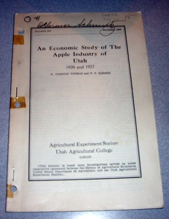 Image for An Economic Study of The Apple Industry of Utah -  1926 and 1927