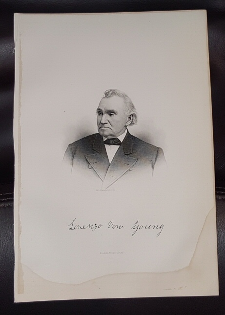 Image for Steel Engraving - Lorenzo Dow Young -  Original MORMON / Utah Pioneer Steel Engraving