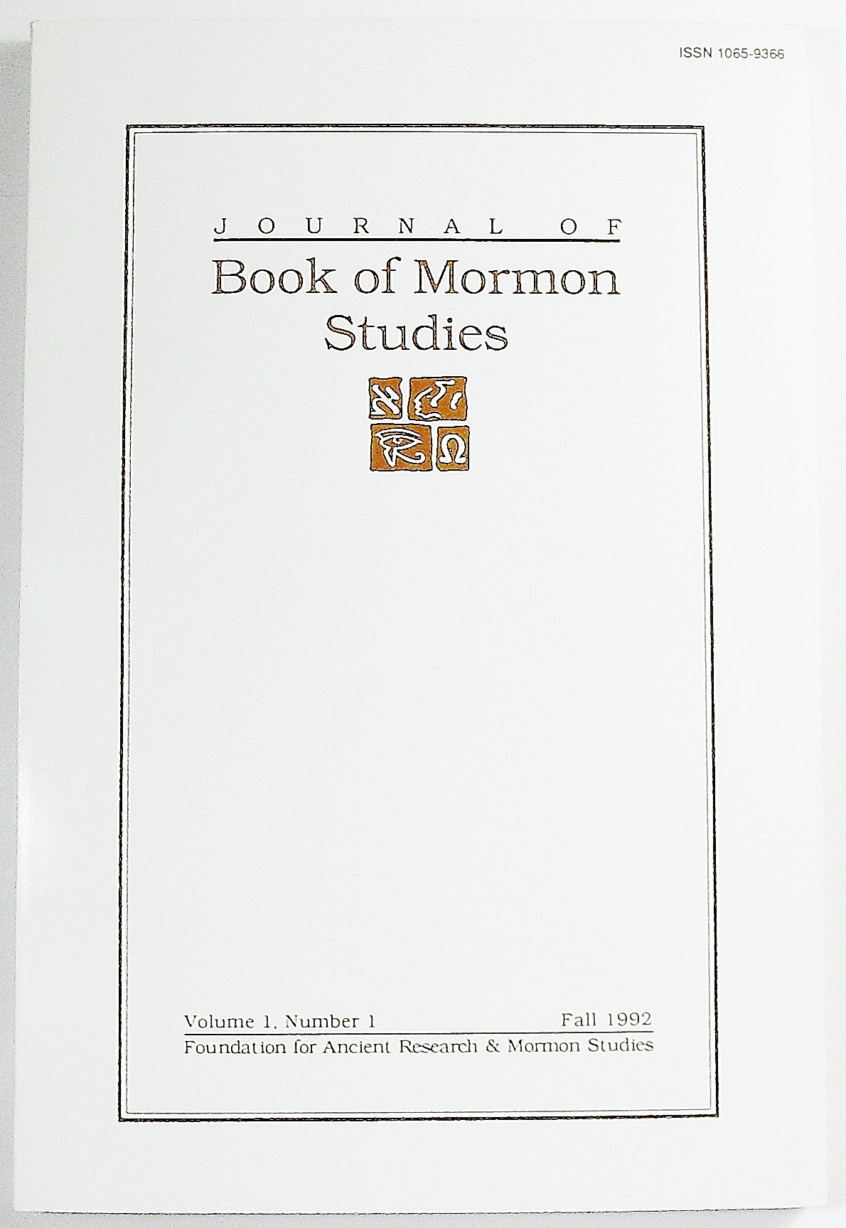 Image for Journal of Book of Mormon Studies;  Volume 1 Number 1, Fall 1992