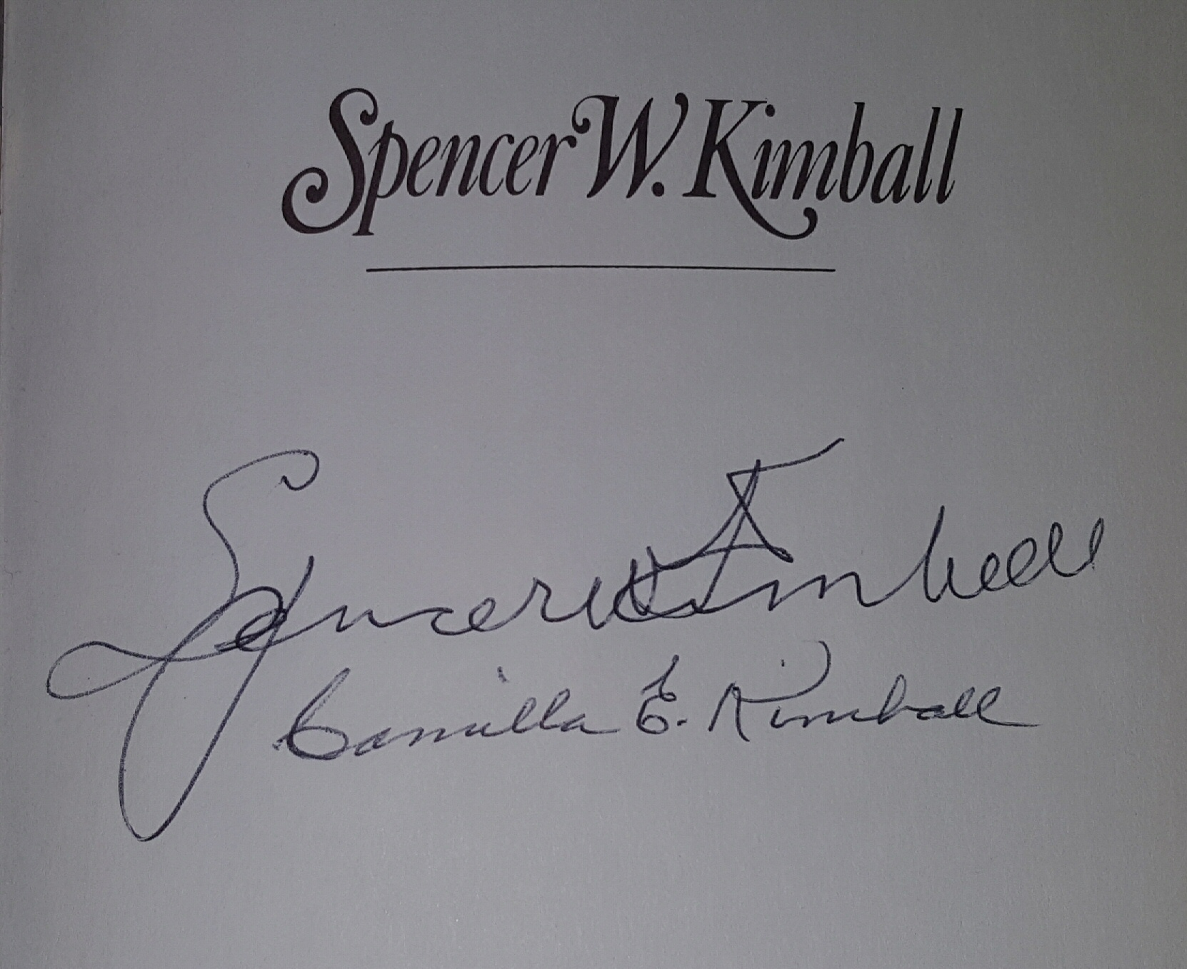 "Image for SPENCER W. KIMBALL - THE EARLY AND APOSTOLIC YEARS - Signed on half title page by Prophet, ""Spencer W. Kimball"" and his wife, ""Camilla E. Kimball""."