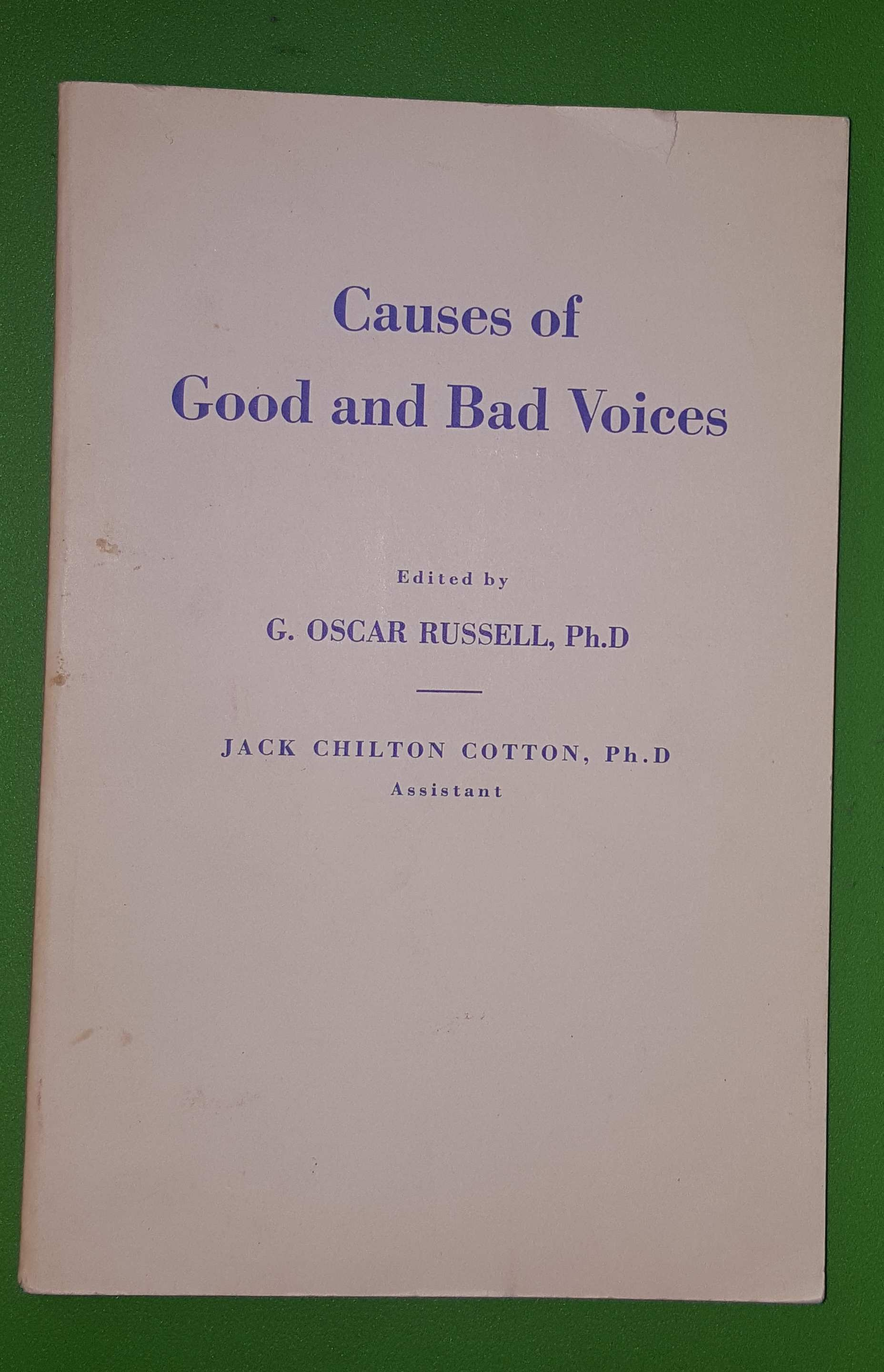 Image for CAUSES OF GOOD AND BAD VOICES